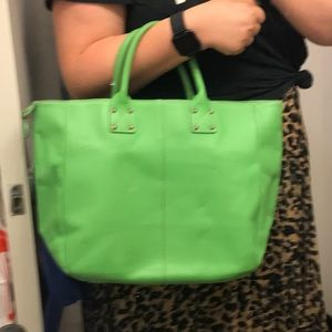 Like green leather tote